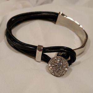 Silver/Black Leather Bracelet w/Jeweled Clasp